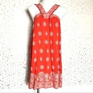 Ann Taylor Loft Orange Bohemian Halter Dress